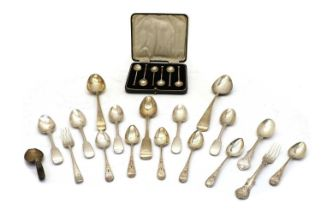 A set of six cased Arts and Crafts silver coffee spoons,