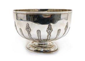 A silver pedestal bowl,