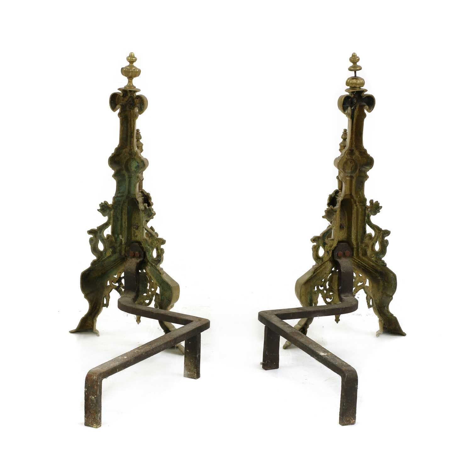 A pair of brass andirons, - Image 2 of 2