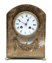 A silver plated two train French mantel clock,