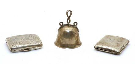 A silver handbell,