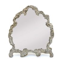 A silver framed dressing table mirror,