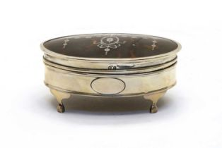 A silver and tortoiseshell silver dressing table box,