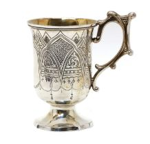 A Victorian silver gothic revival cup,