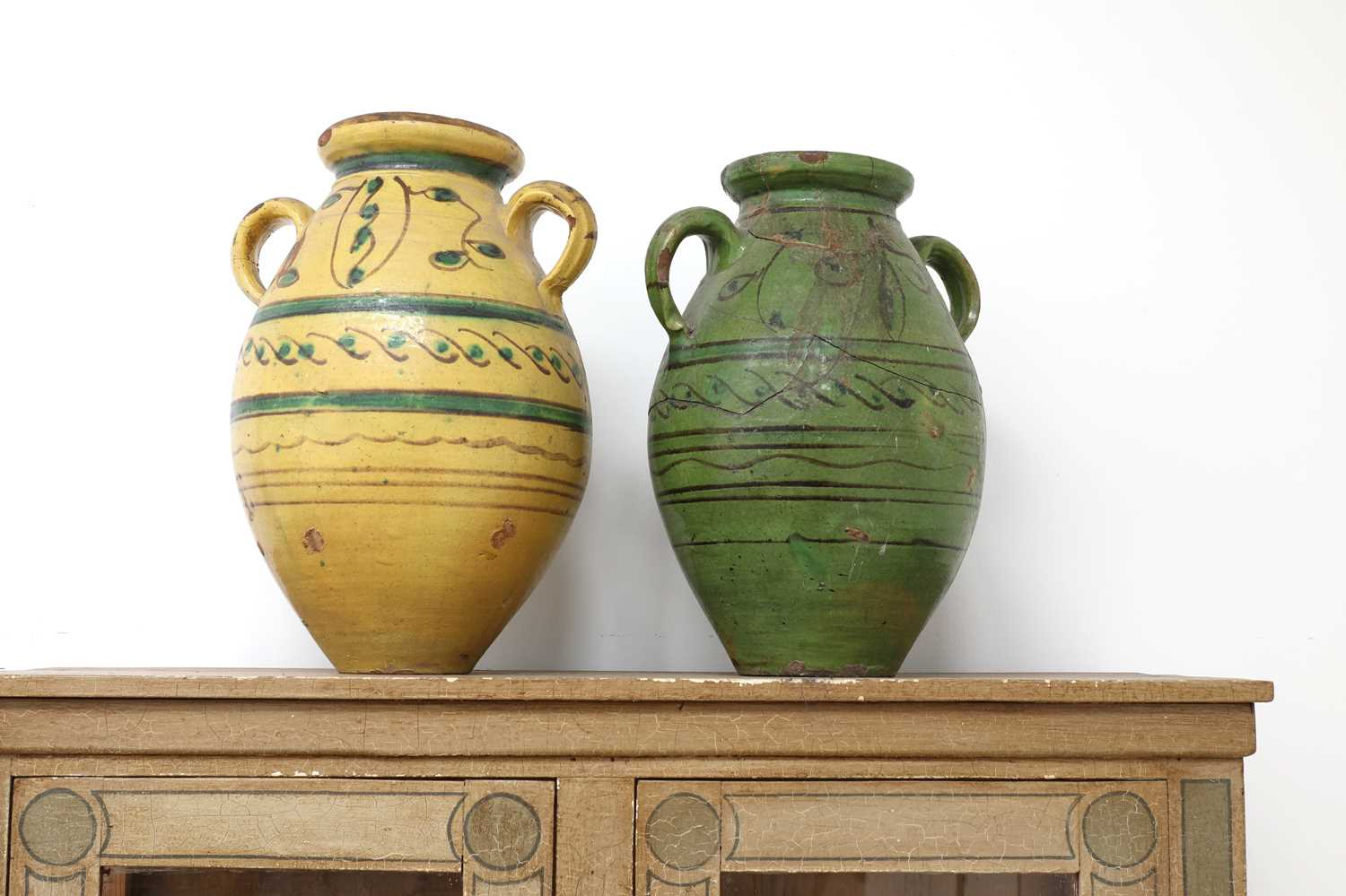 A pair of large French pottery vases,