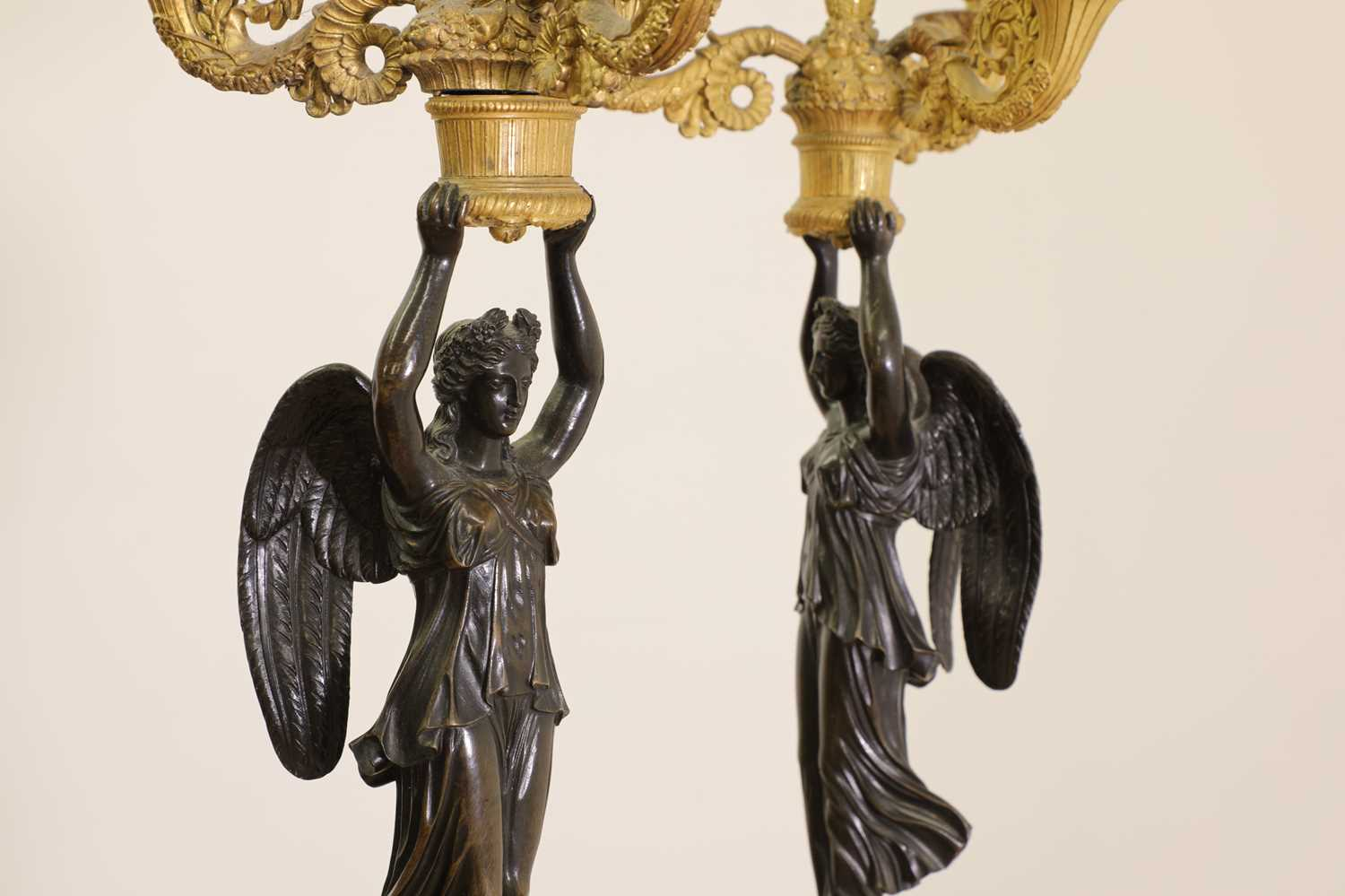 A pair of French Empire ormolu and bronze candelabra, - Image 5 of 30