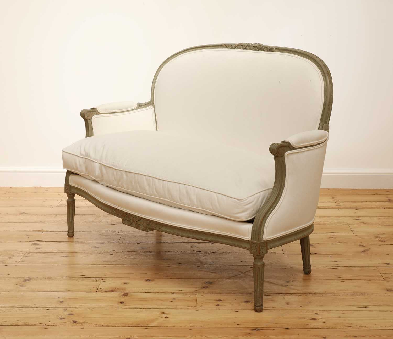 A small French Louis XVI-style settee, - Image 2 of 4