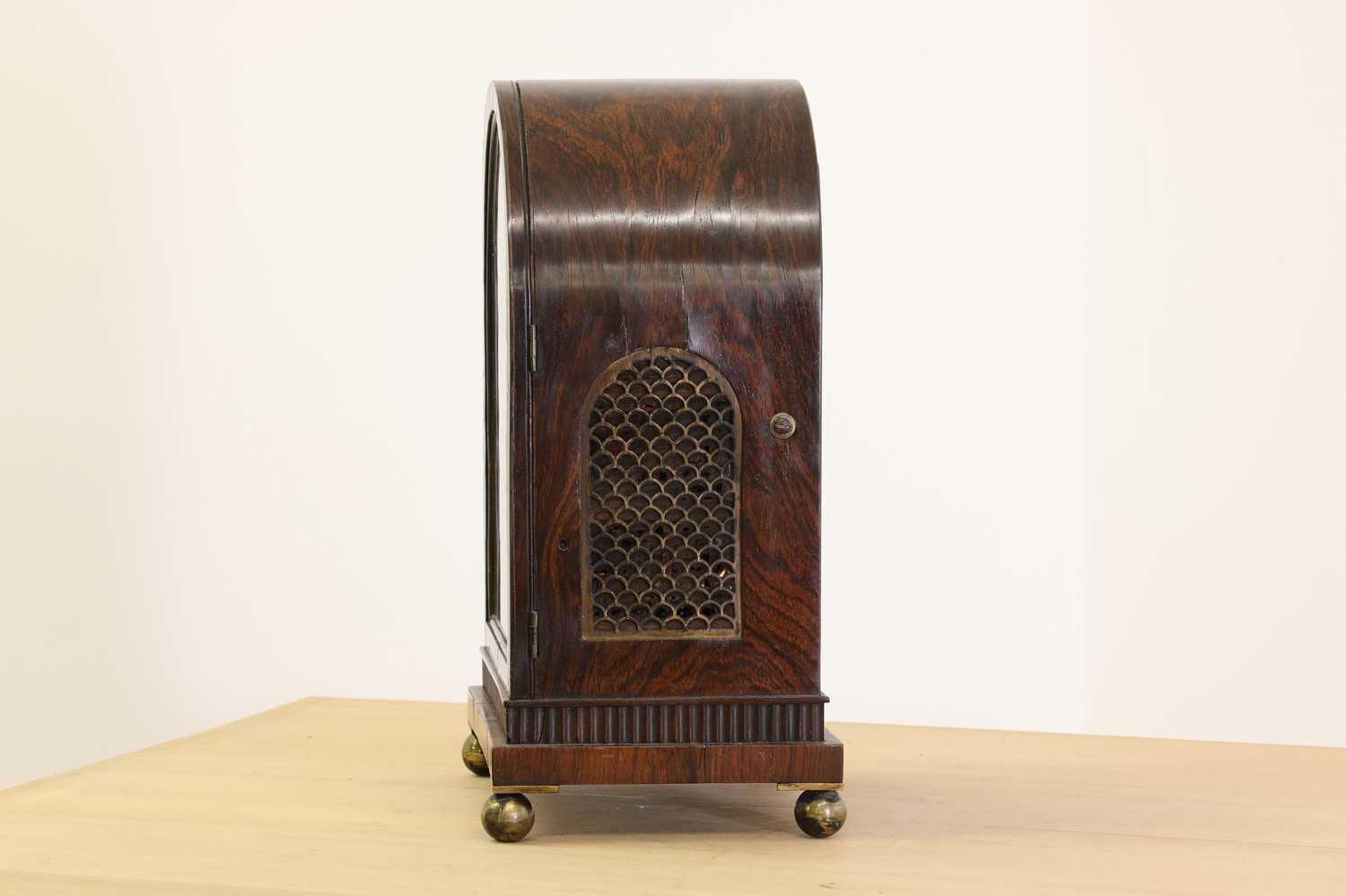 A Regency brass inlaid rosewood mantel clock, - Image 3 of 11