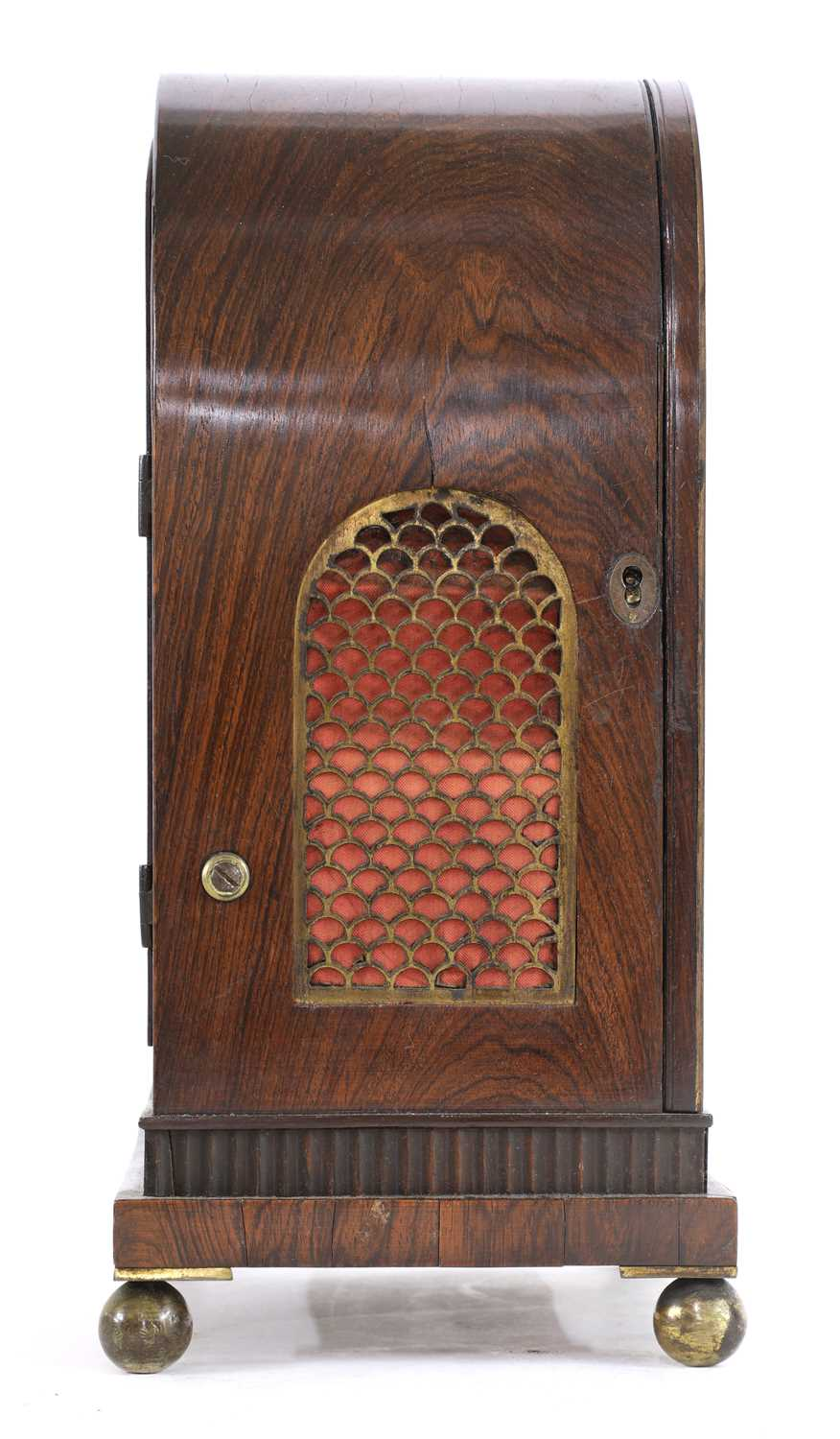 A Regency brass inlaid rosewood mantel clock, - Image 10 of 11