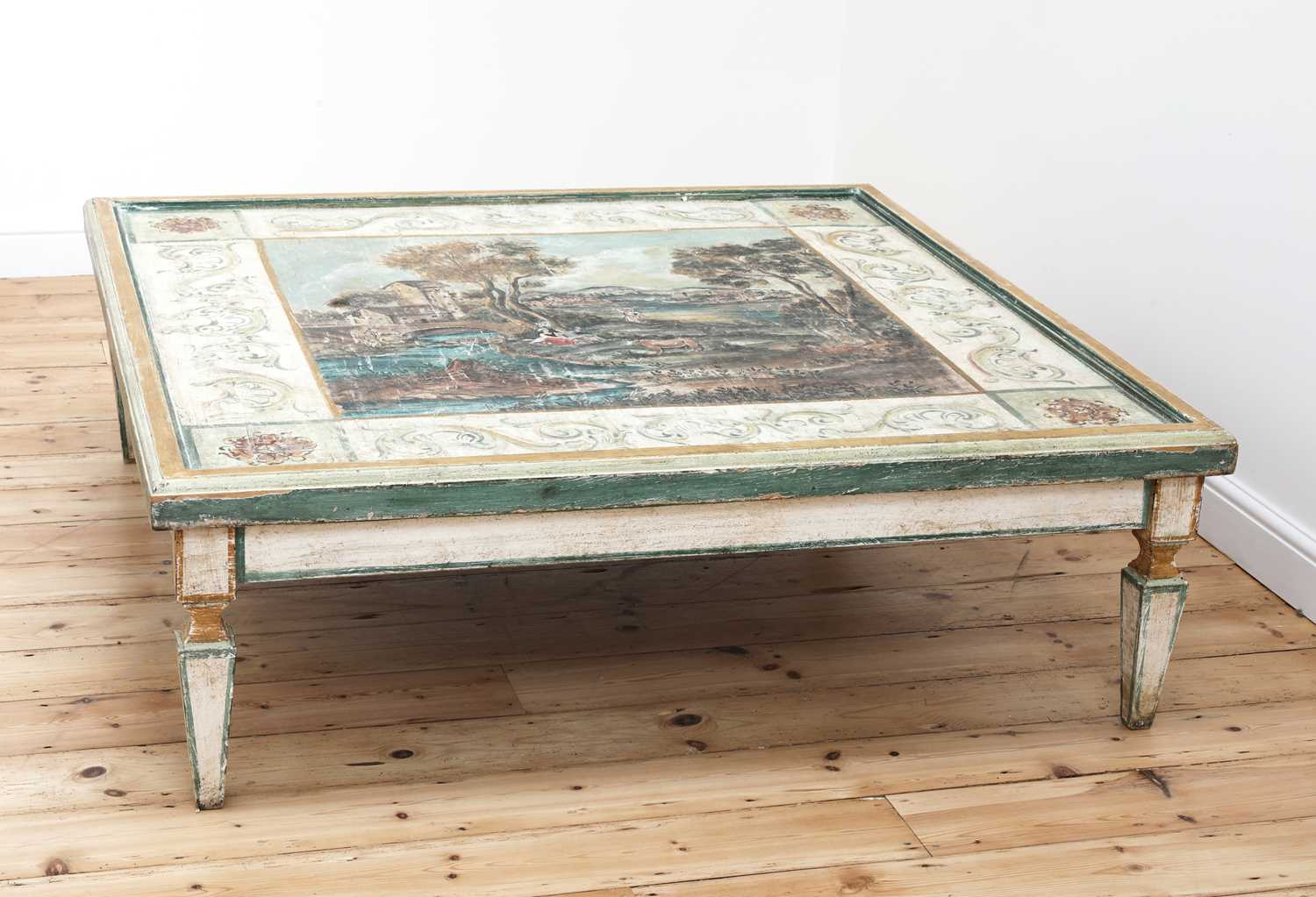 A large Continental painted wood coffee table, - Image 3 of 9