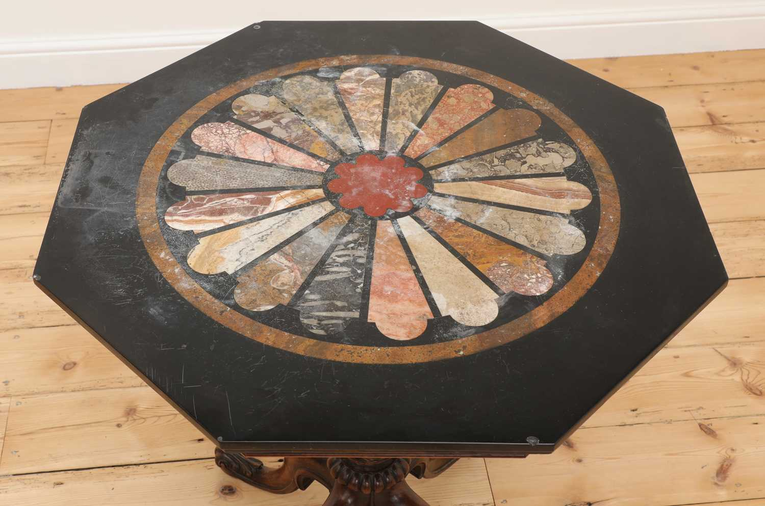 An octagonal walnut and specimen marble-topped table, - Image 2 of 3