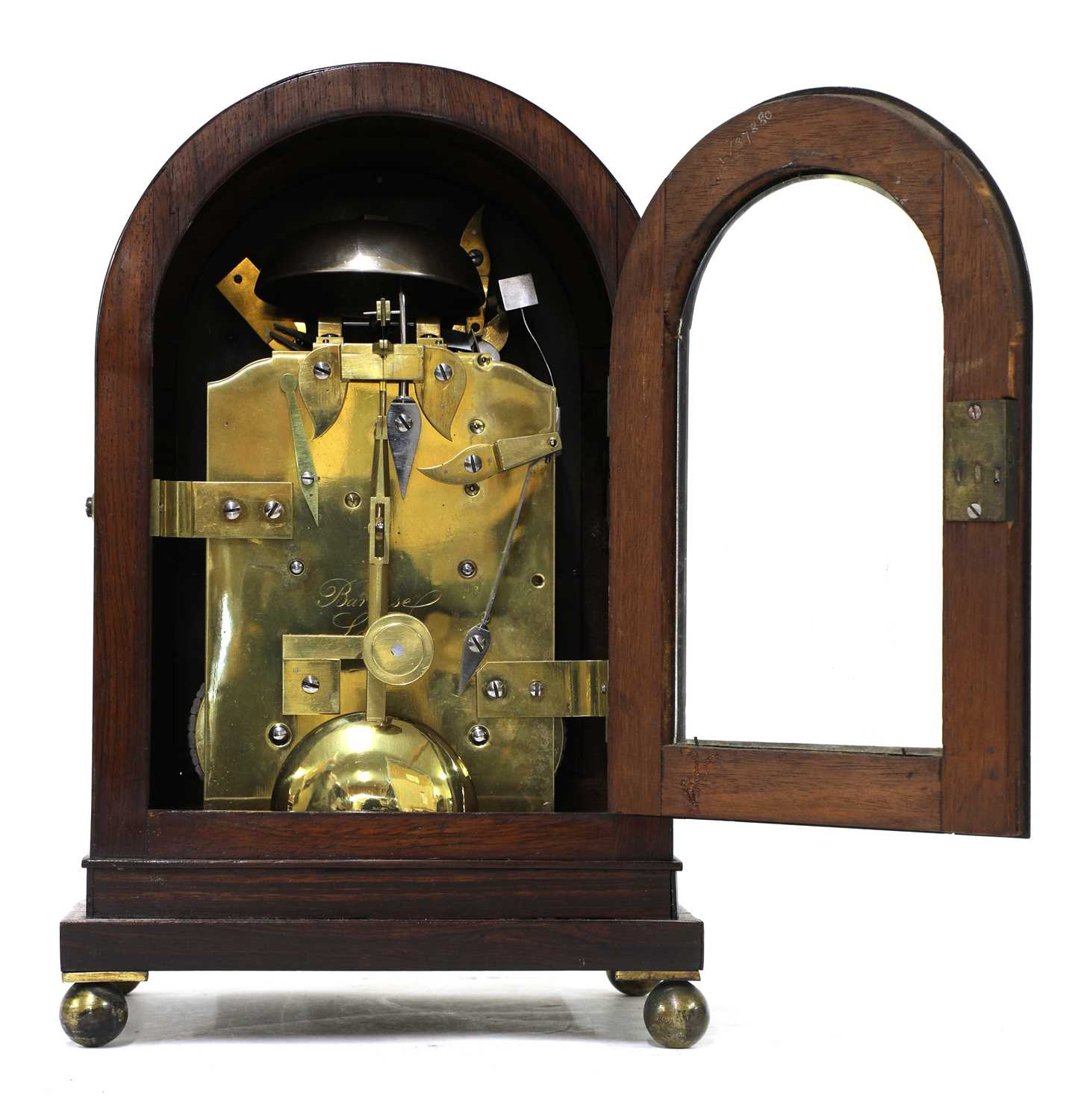 A Regency brass inlaid rosewood mantel clock, - Image 11 of 11