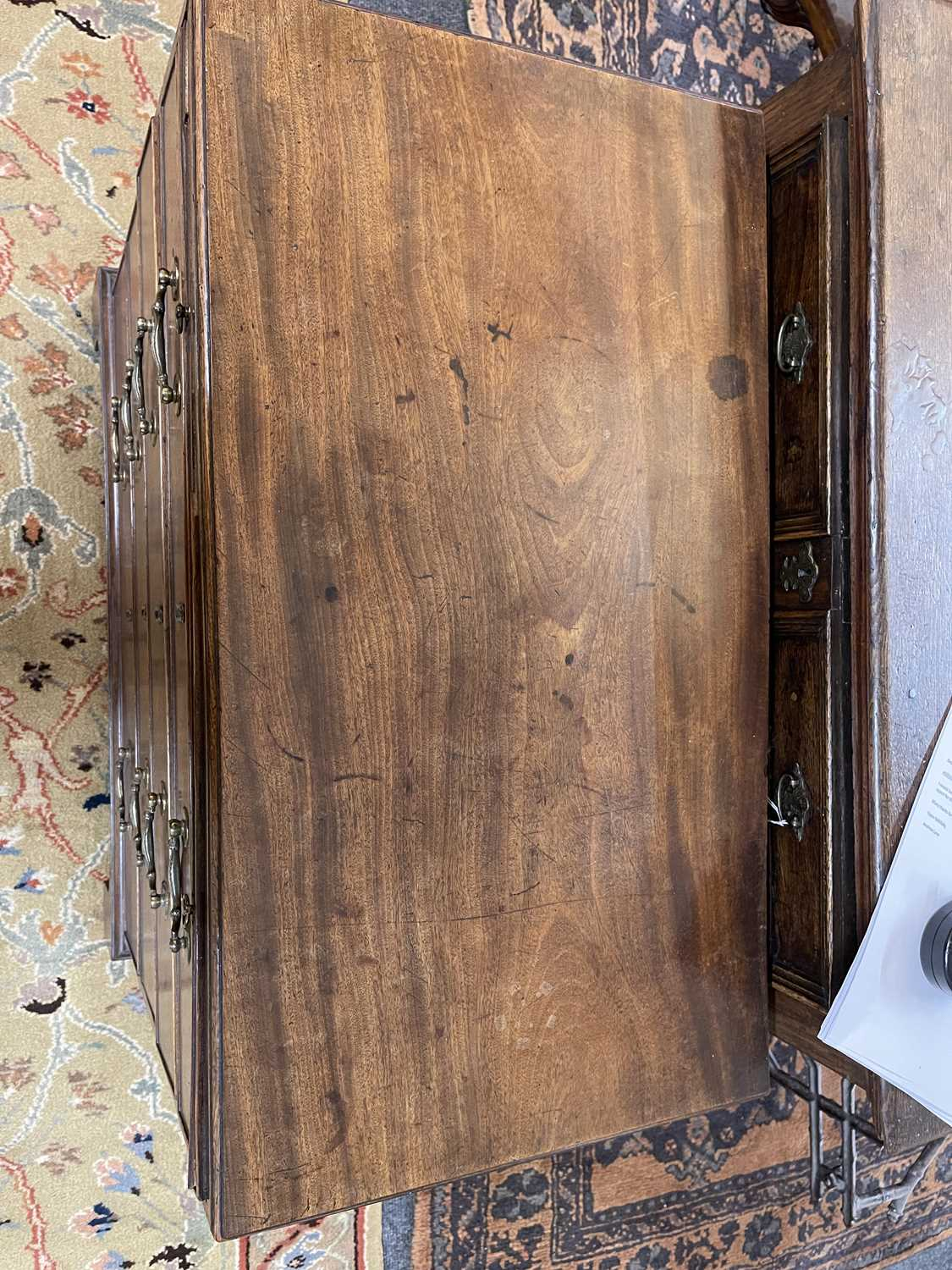A George III mahogany caddy-top chest of drawers, - Image 5 of 48