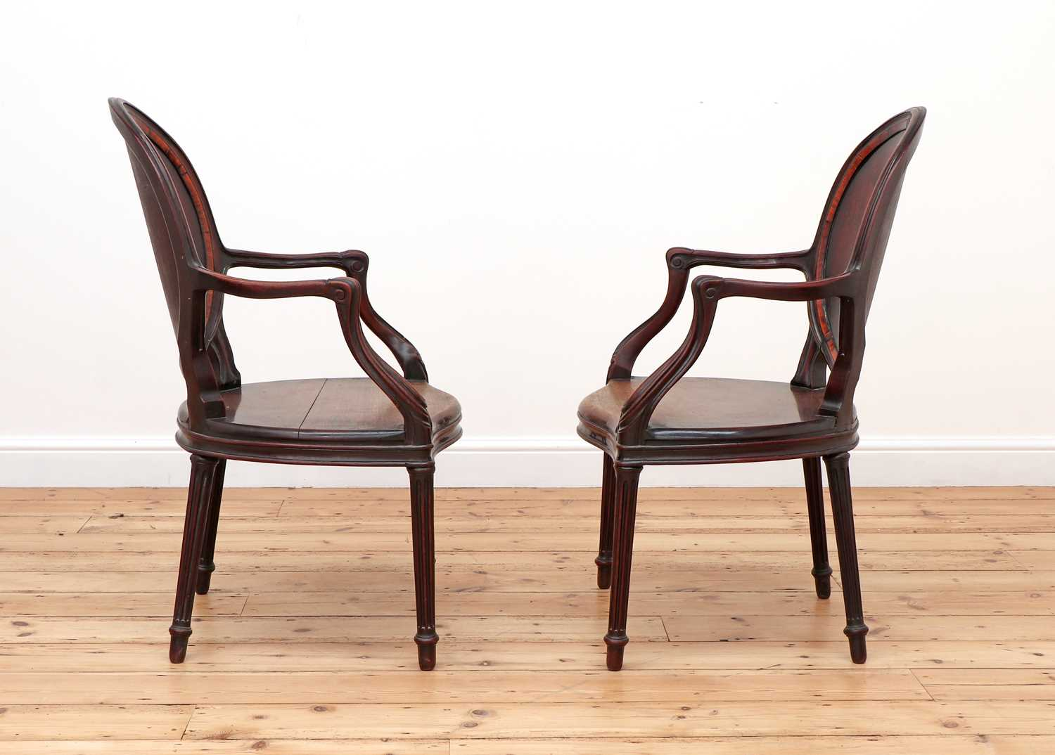 A pair of mahogany hall chairs, - Image 3 of 119