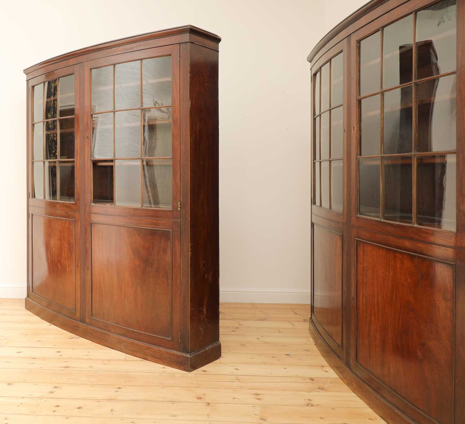 A pair of mahogany bow front bookcases, - Image 2 of 6