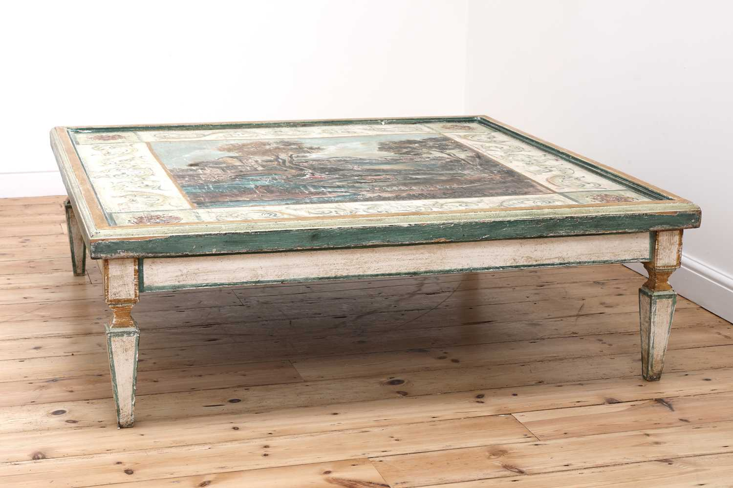 A large Continental painted wood coffee table, - Image 4 of 9