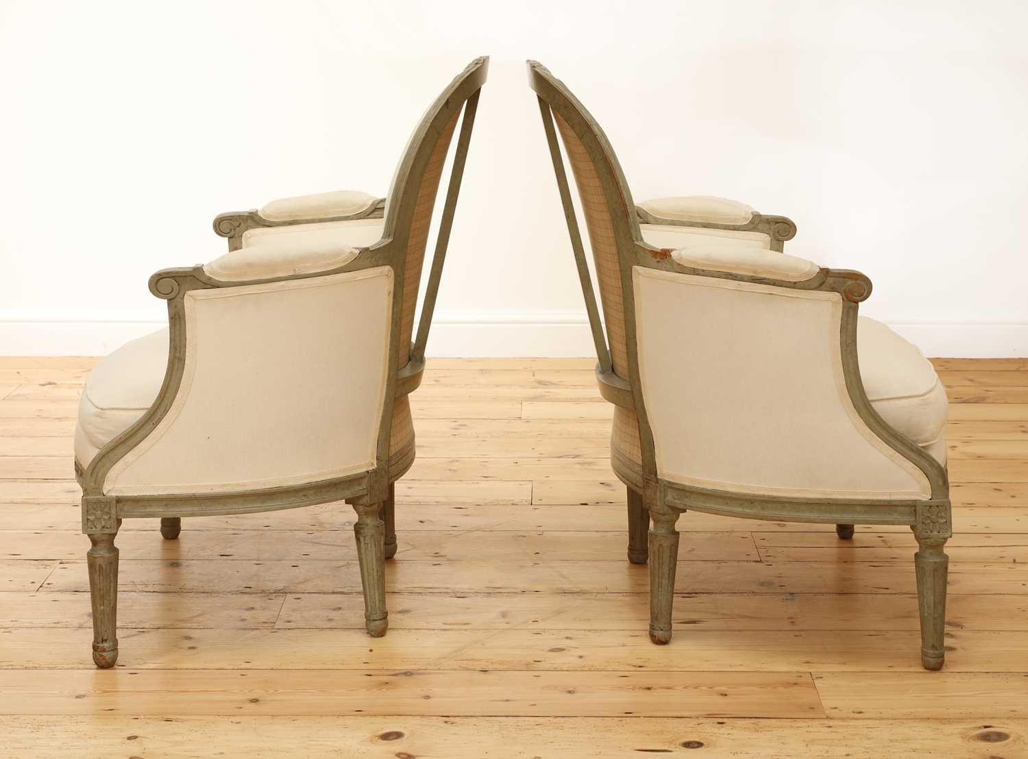 A pair of French Louis XVI-style painted fauteuils, - Image 2 of 5