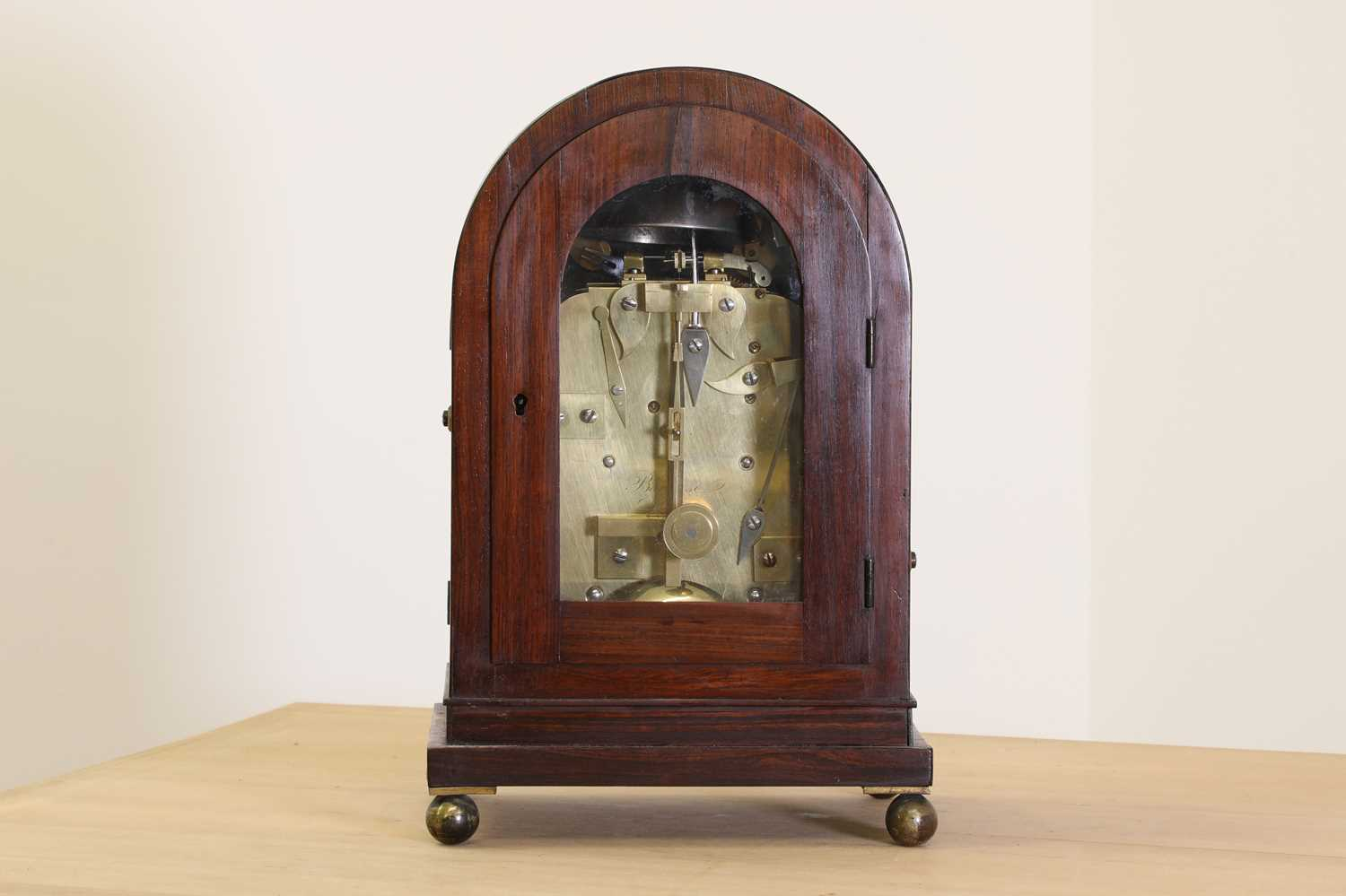 A Regency brass inlaid rosewood mantel clock, - Image 4 of 11