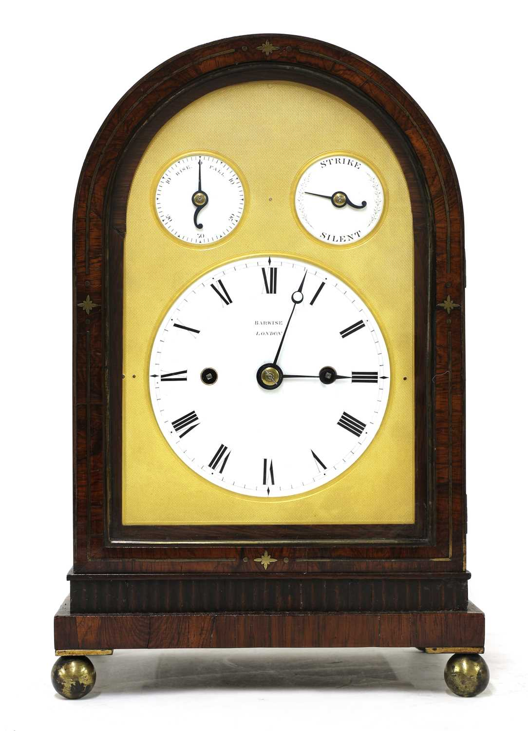 A Regency brass inlaid rosewood mantel clock, - Image 7 of 11