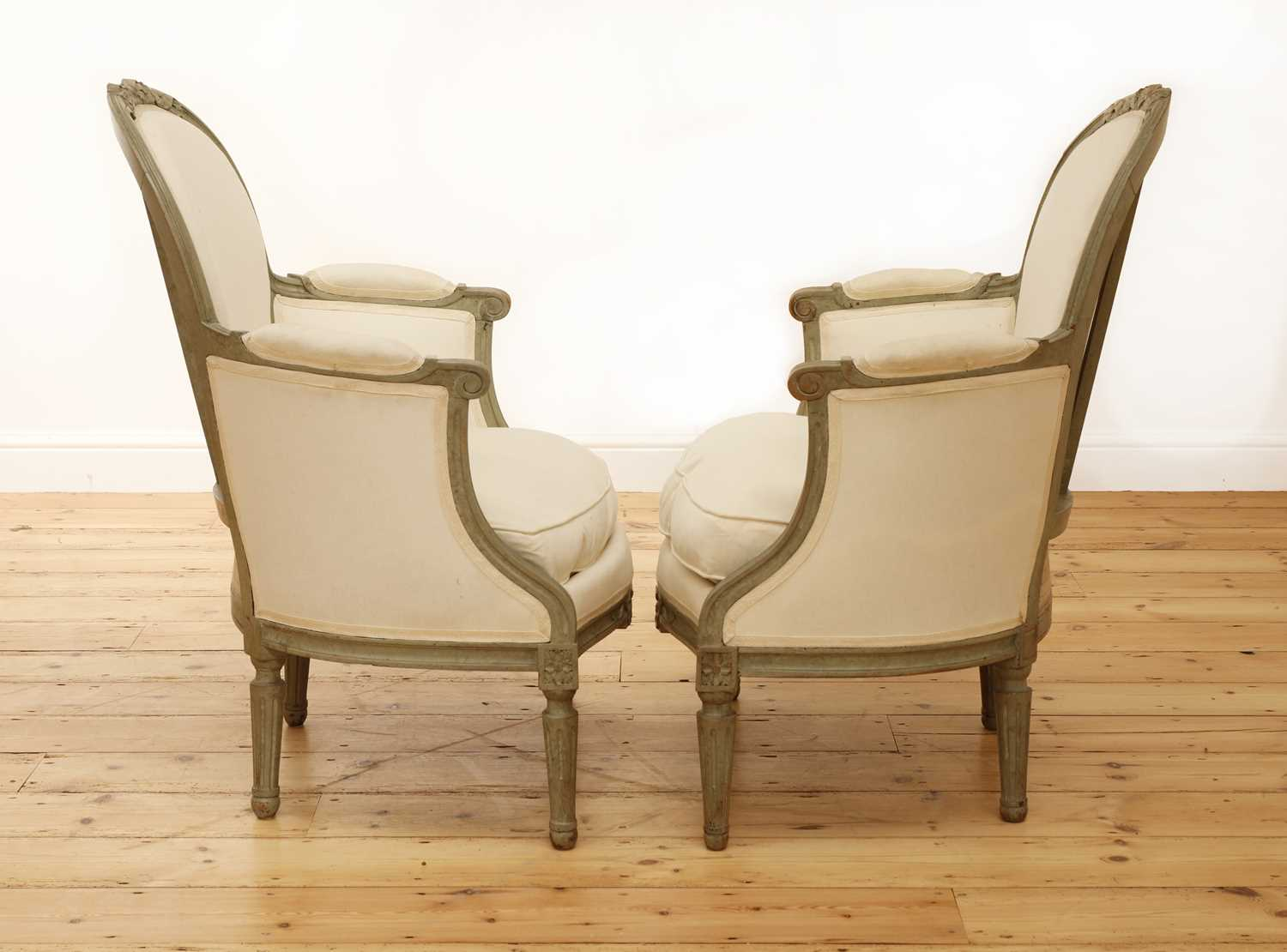A pair of French Louis XVI-style painted fauteuils, - Image 3 of 5