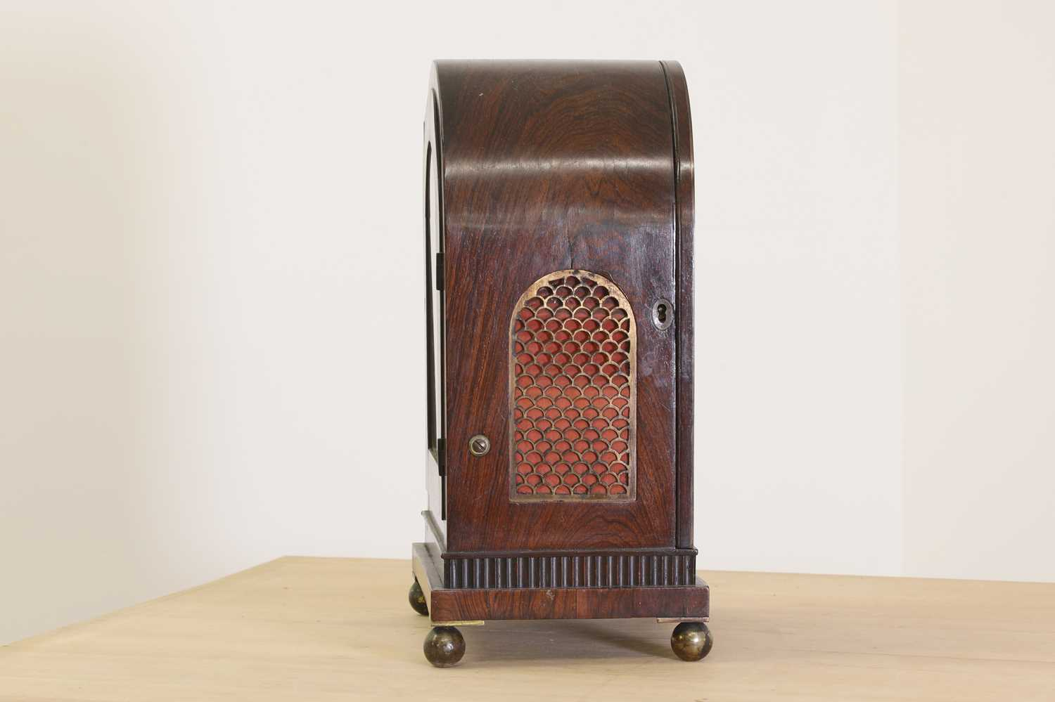 A Regency brass inlaid rosewood mantel clock, - Image 6 of 11