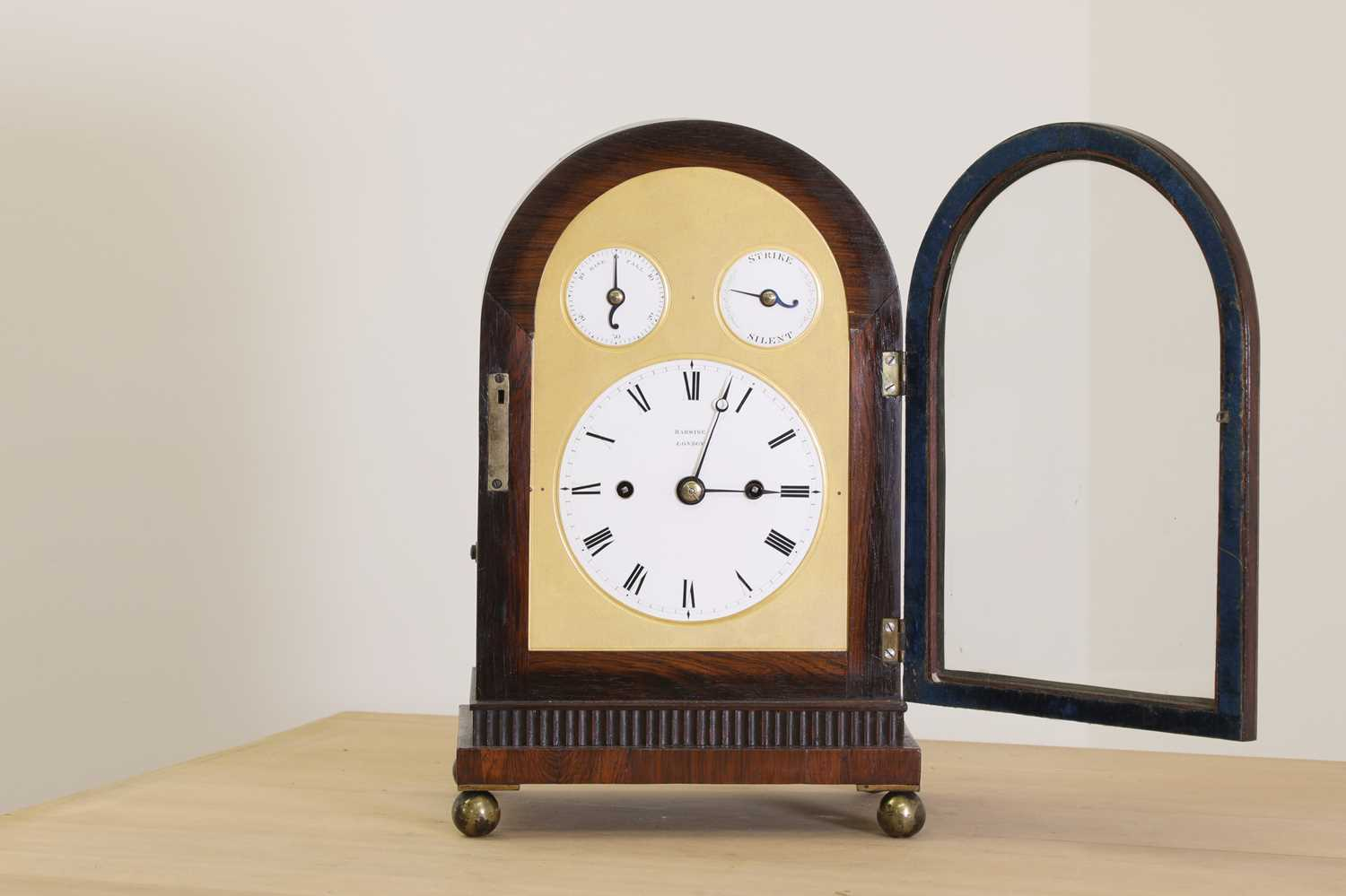 A Regency brass inlaid rosewood mantel clock, - Image 2 of 11