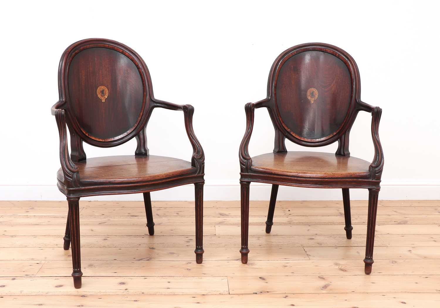 A pair of mahogany hall chairs, - Image 2 of 119