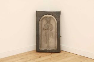 A relief carved basalt panel or stele,