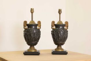 A pair of gilt and patinated bronze Townley vase table lamps,