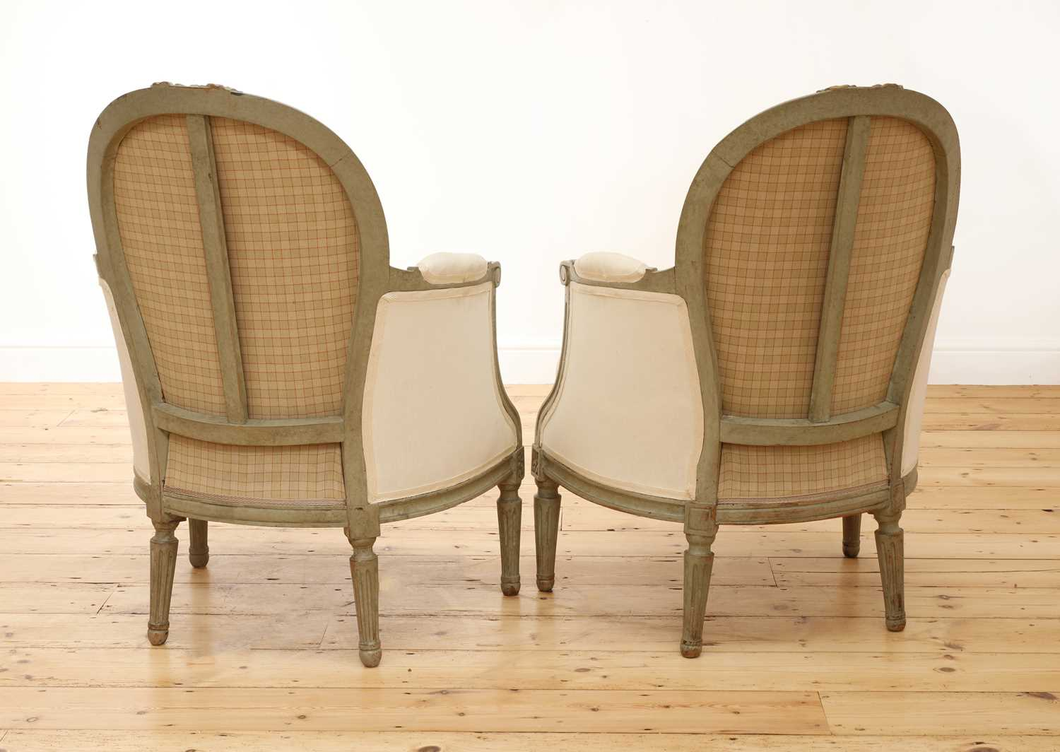 A pair of French Louis XVI-style painted fauteuils, - Image 4 of 5
