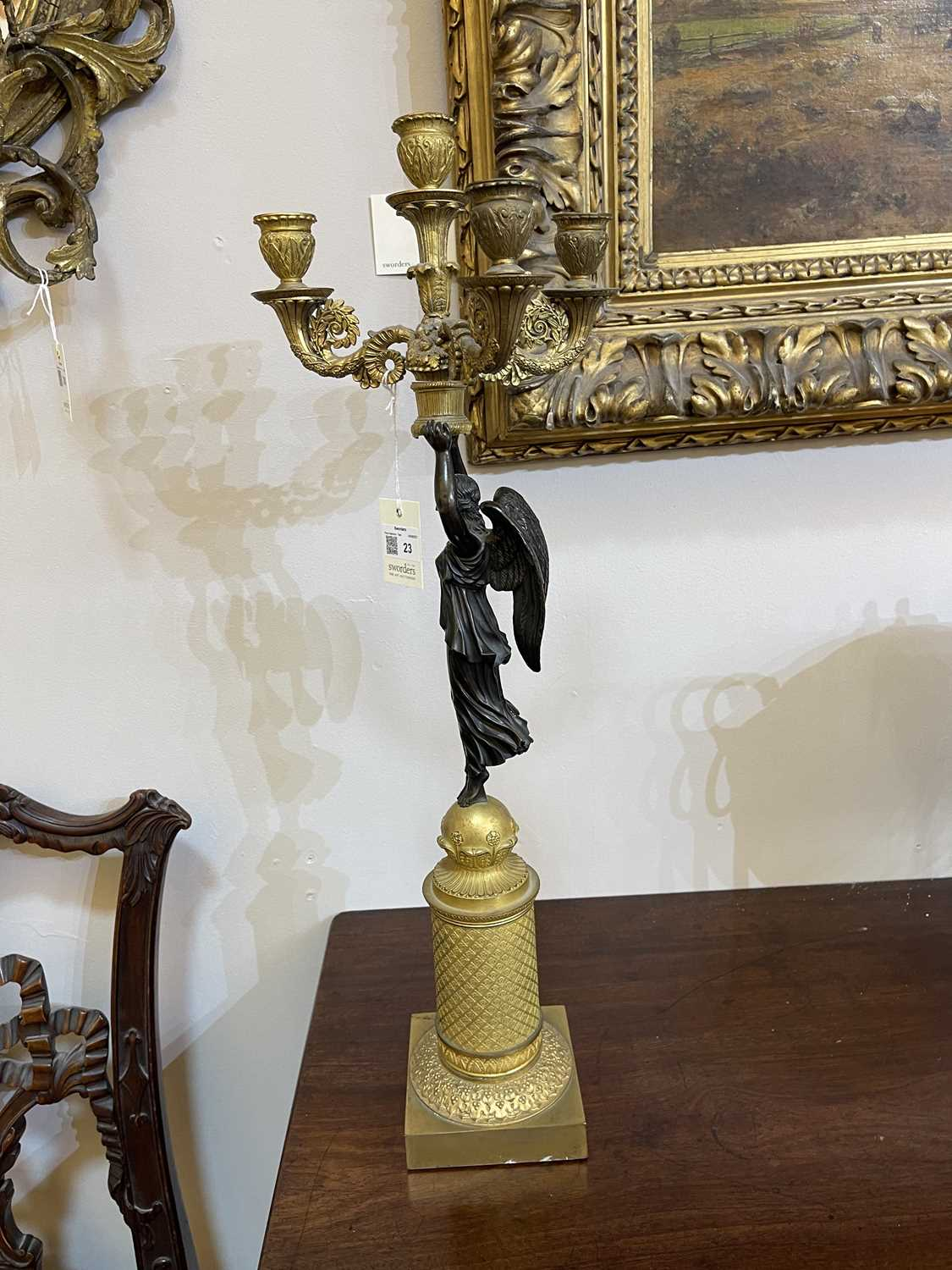 A pair of French Empire ormolu and bronze candelabra, - Image 12 of 30