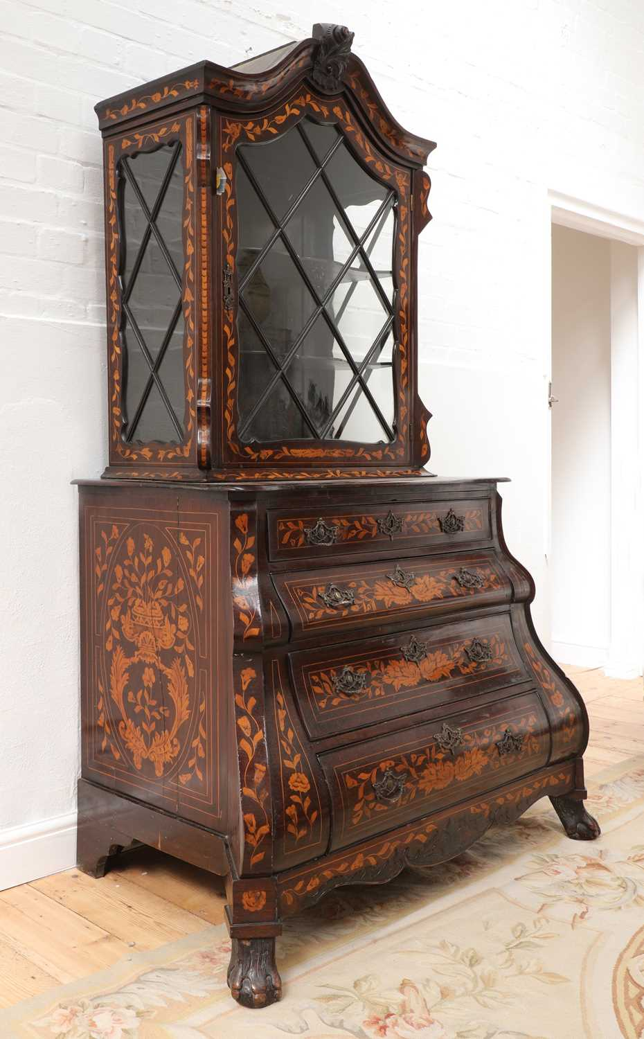 A Dutch marquetry cabinet on chest, - Image 2 of 10