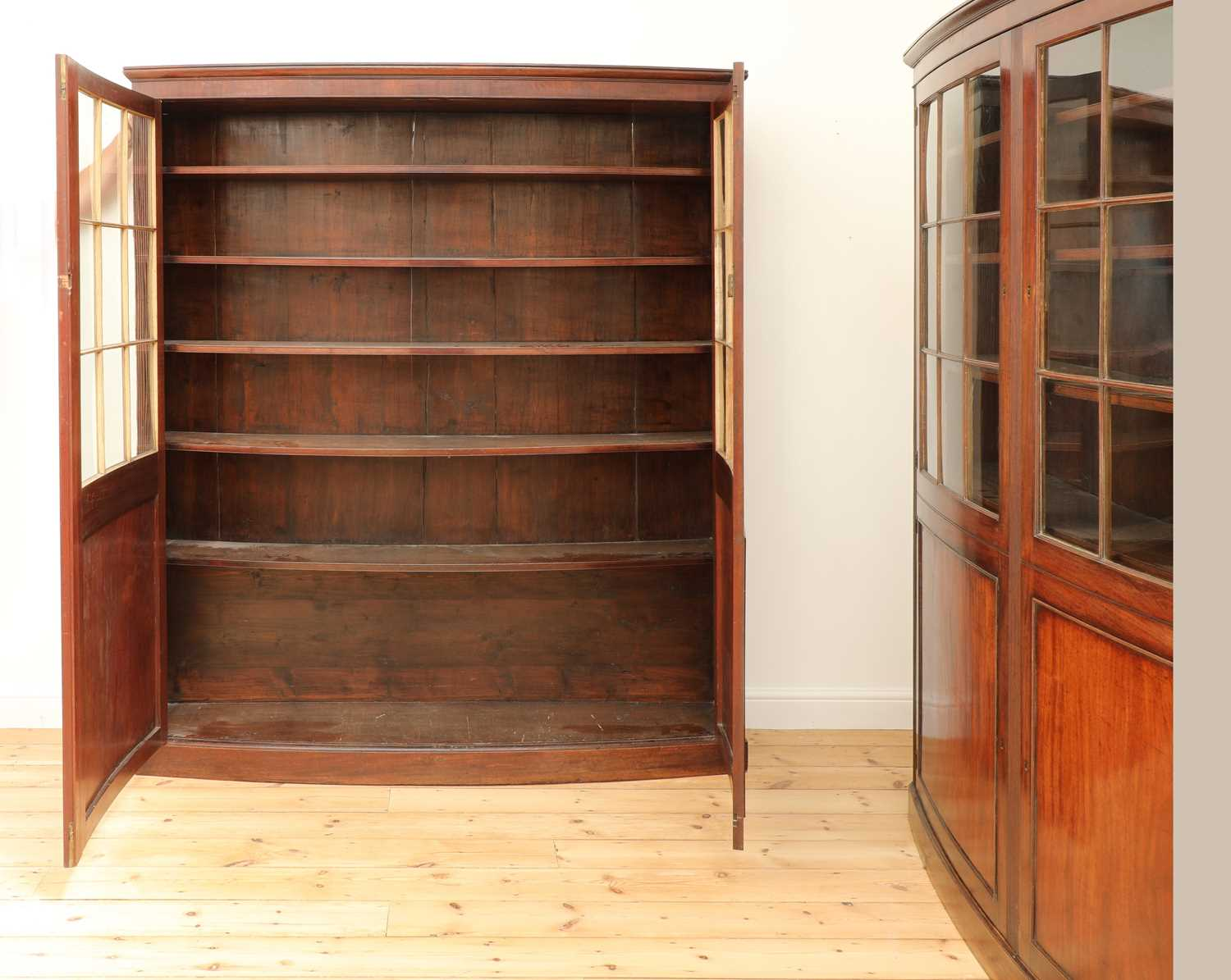A pair of mahogany bow front bookcases, - Image 4 of 6