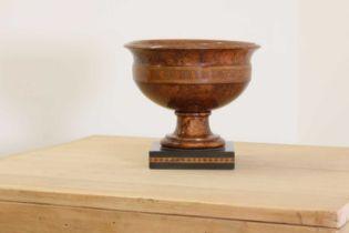 A grained beech pedestal bowl,