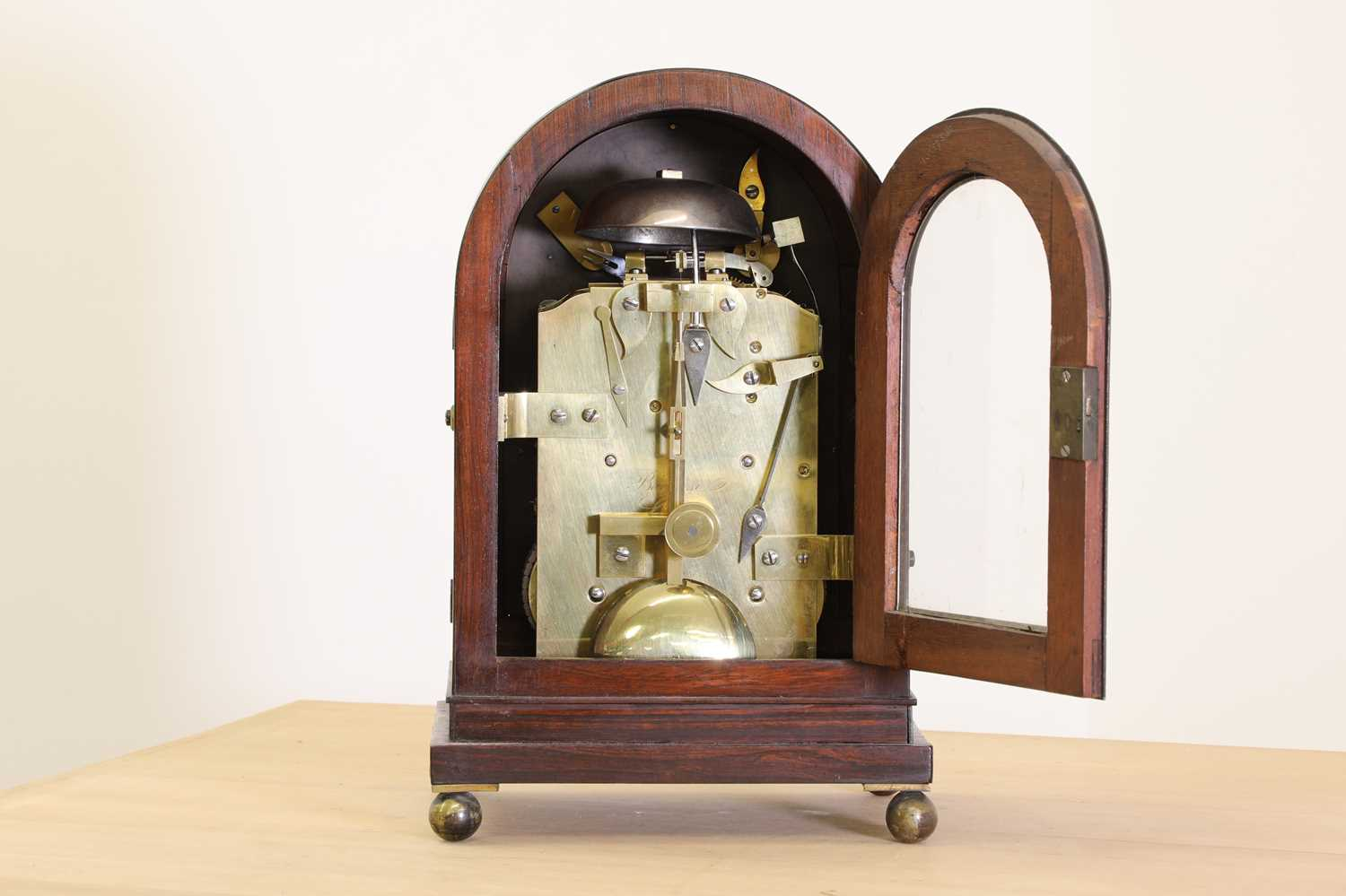 A Regency brass inlaid rosewood mantel clock, - Image 5 of 11