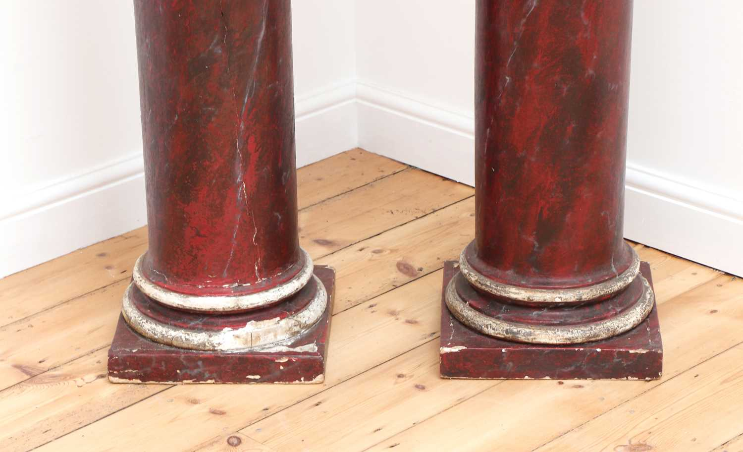 A pair of imitation rouge marble painted pine Tuscan columns, - Image 4 of 4