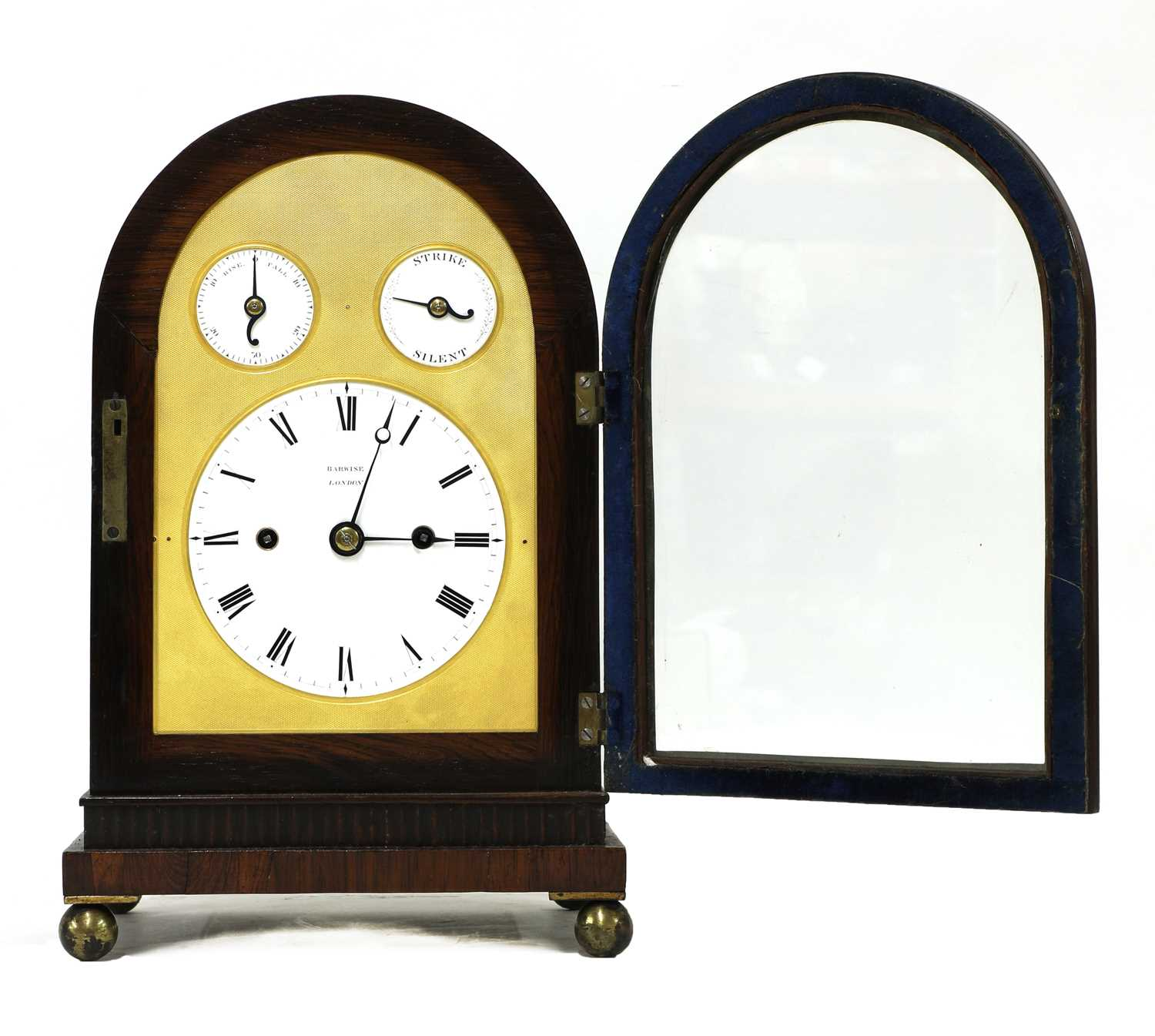 A Regency brass inlaid rosewood mantel clock, - Image 9 of 11