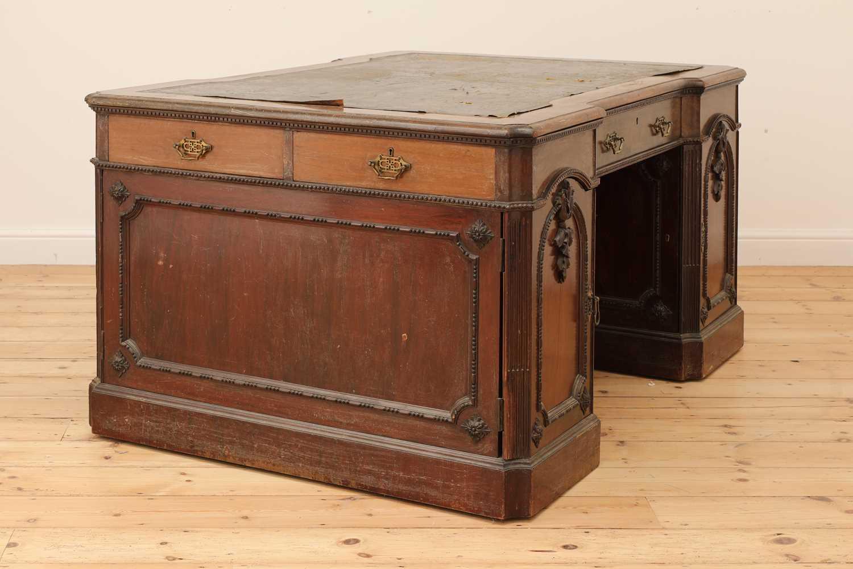 A George III-style walnut partners' desk, - Image 3 of 24