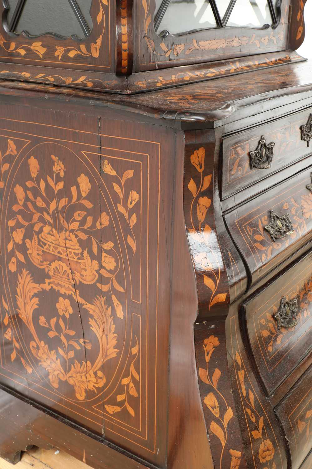 A Dutch marquetry cabinet on chest, - Image 7 of 10