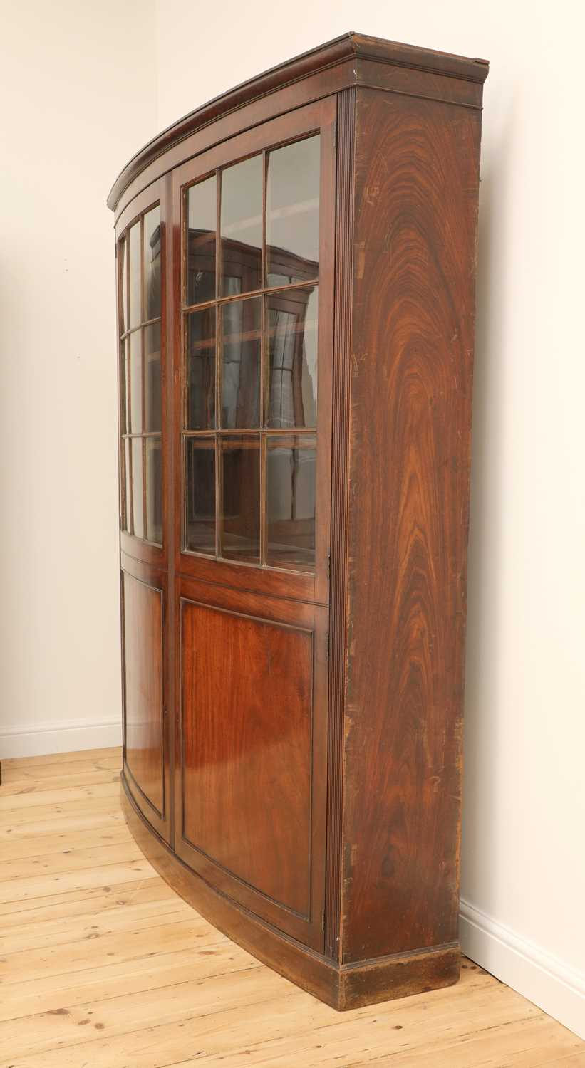A pair of mahogany bow front bookcases, - Image 3 of 6