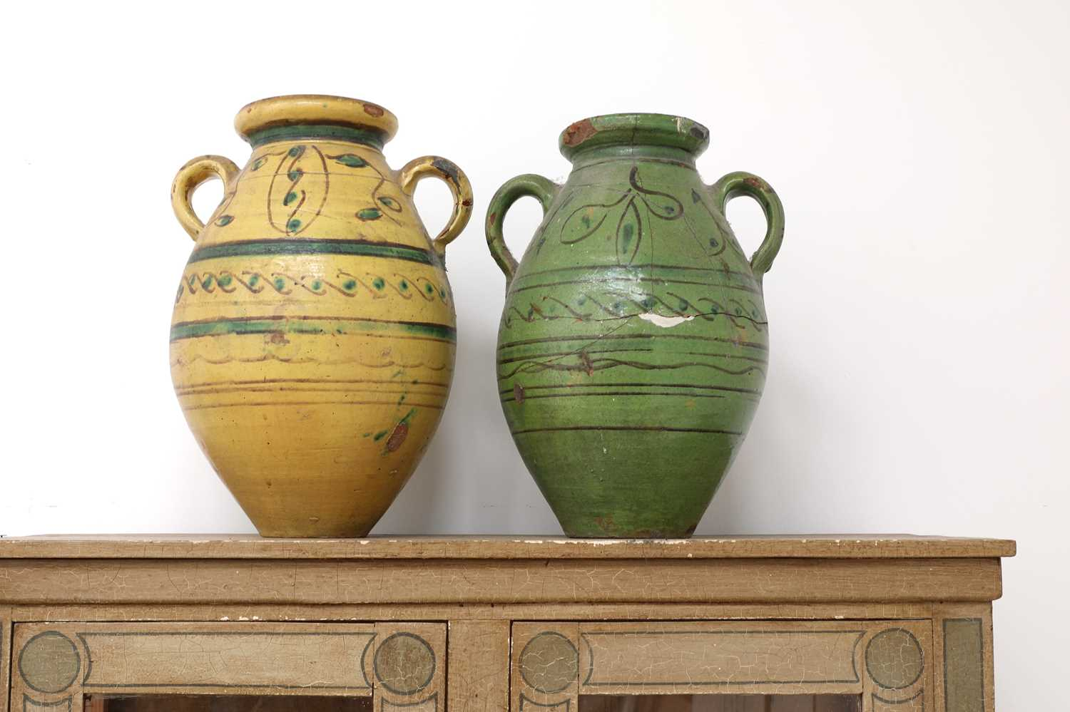 A pair of large French pottery vases, - Image 2 of 5