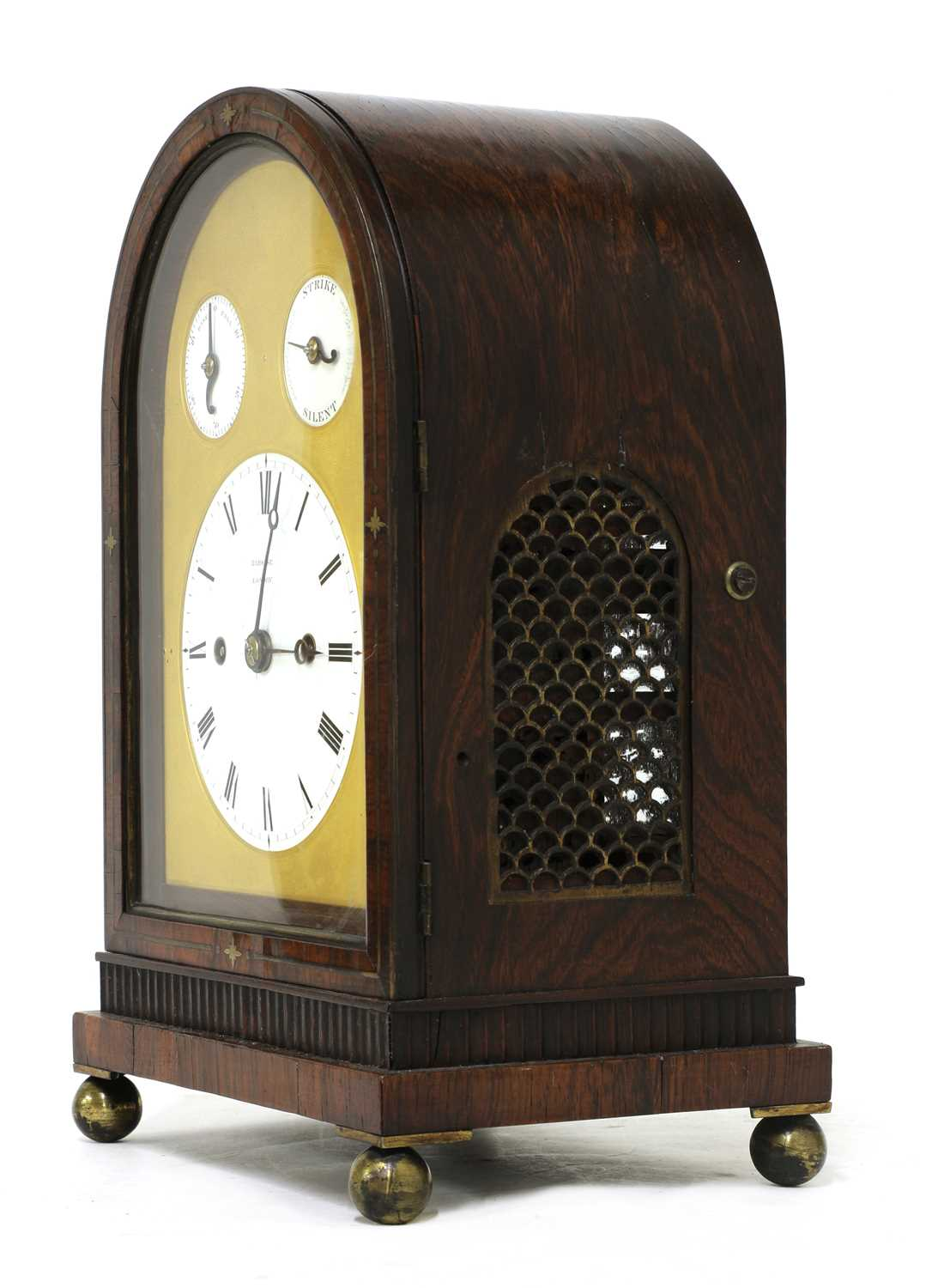 A Regency brass inlaid rosewood mantel clock, - Image 8 of 11