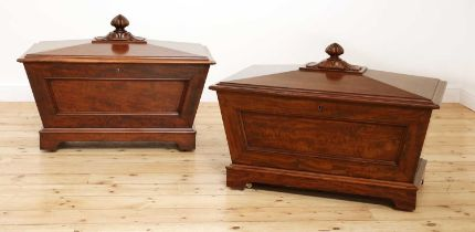 A near pair of mahogany wine coolers,