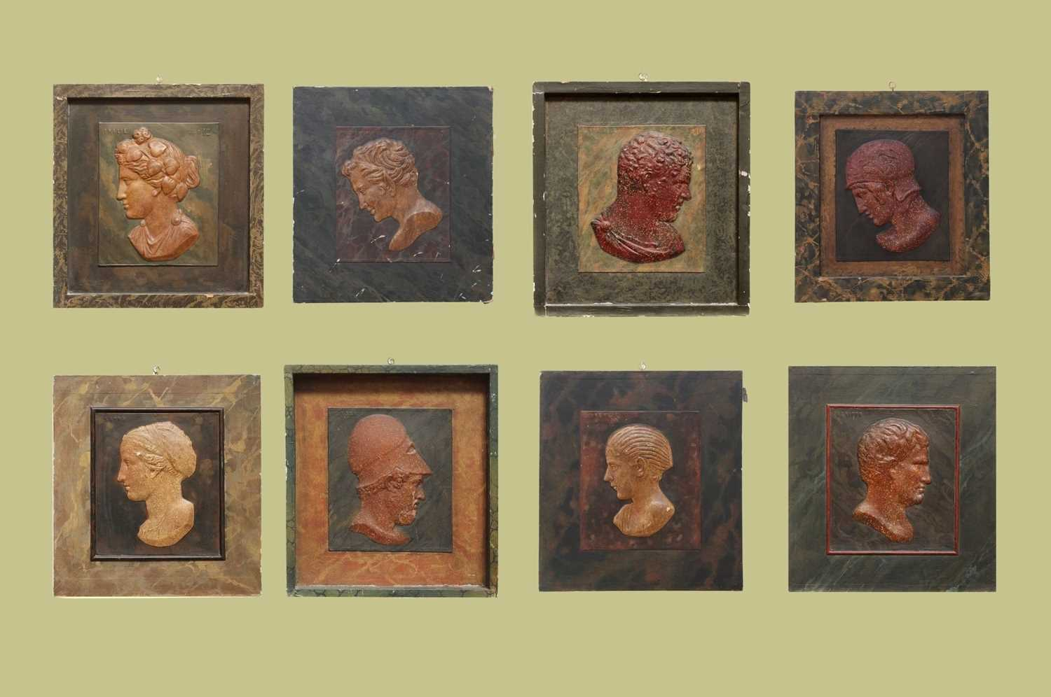 Eight grand-tour-style relief panels,