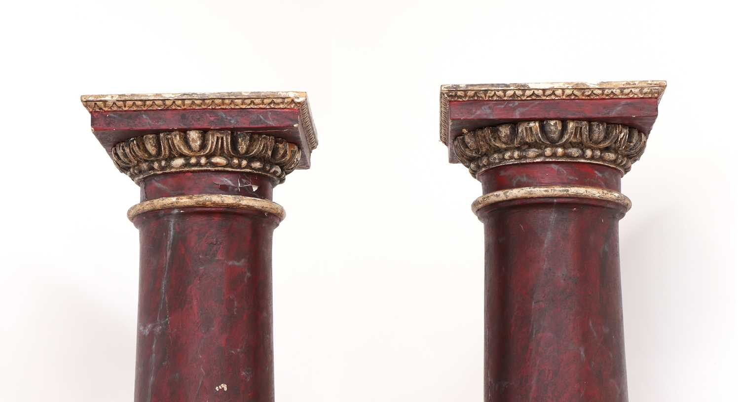 A pair of imitation rouge marble painted pine Tuscan columns, - Image 3 of 4