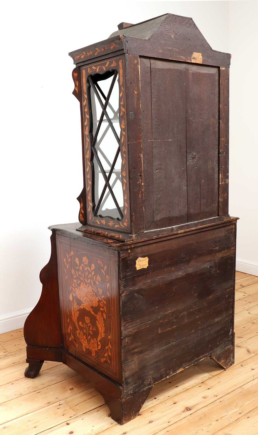 A Dutch marquetry cabinet on chest, - Image 3 of 10