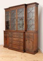 A George III mahogany secretaire breakfront bookcase,