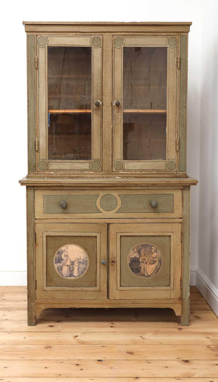 A painted oak larder cupboard,