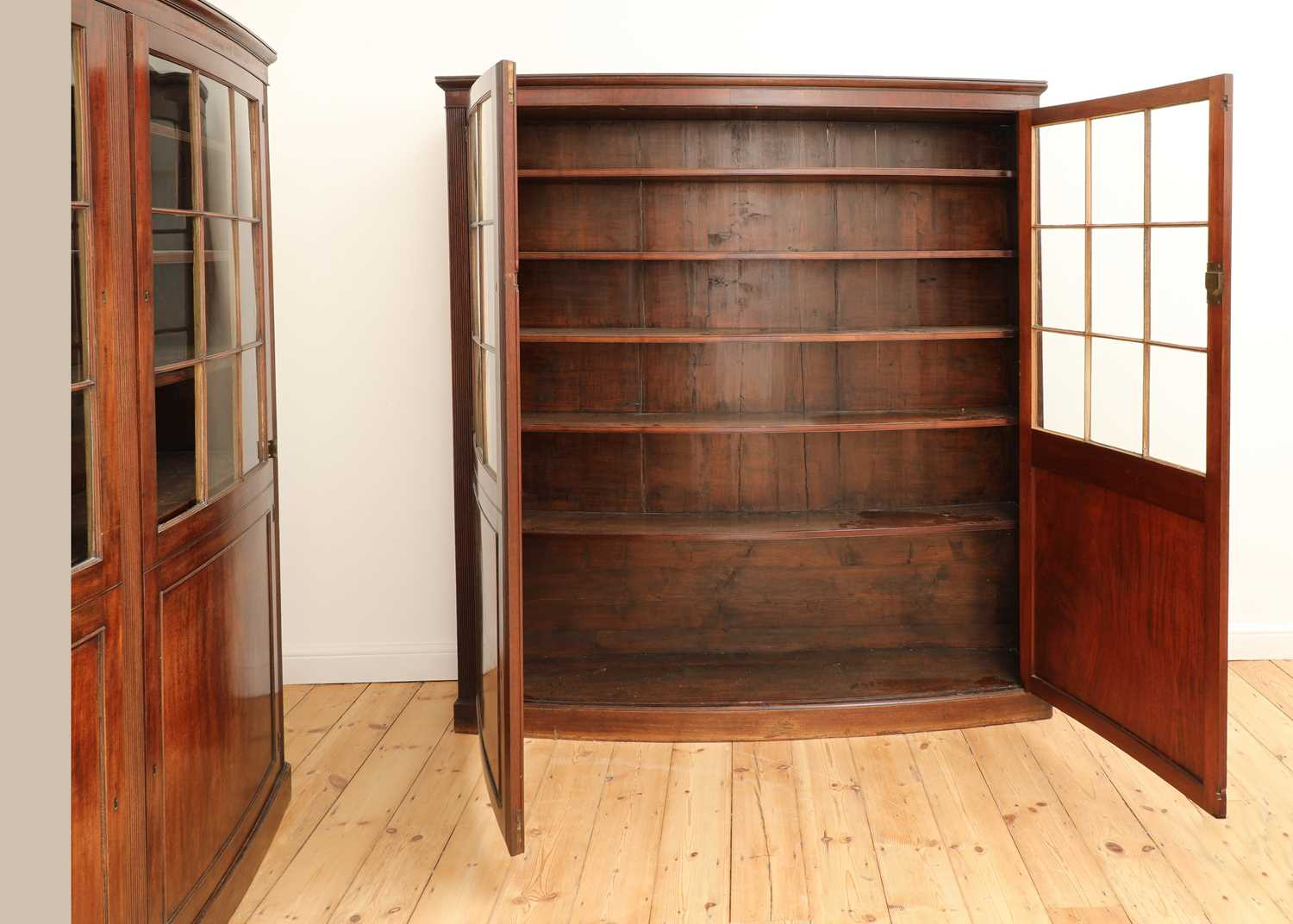 A pair of mahogany bow front bookcases, - Image 5 of 6