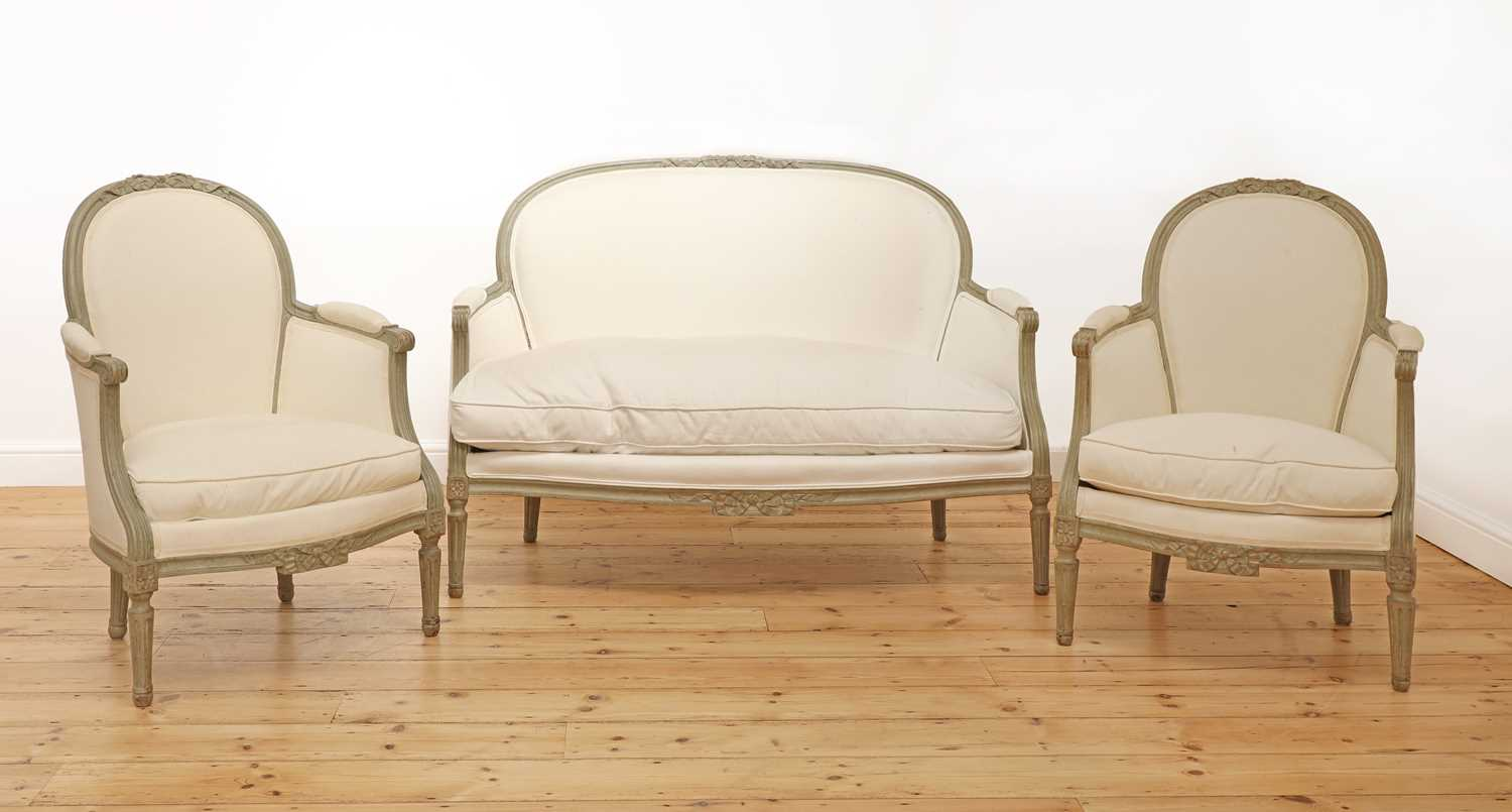 A pair of French Louis XVI-style painted fauteuils, - Image 5 of 5